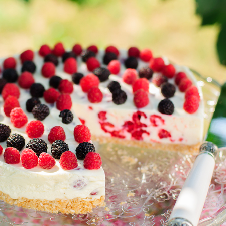 black raspberries: No-bake Fresh Raspberry Cheesecake with Red and Black Raspberries, Summer Cake, copy space for your text, square, close up