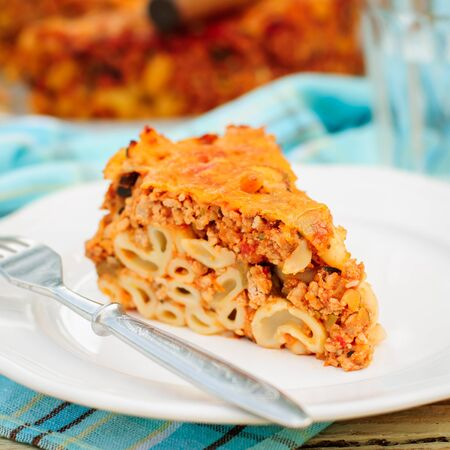 minced pie: A Piece of Bolognese Pasta Bake, Macaroni Cheese, Minced Meat and Pasta Pie, copy space for your text, square