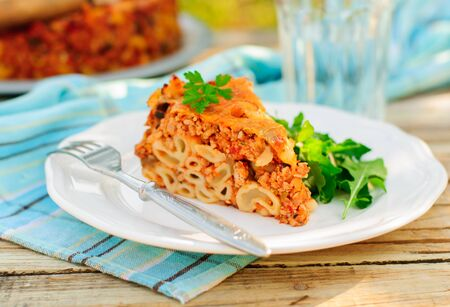 macaroni with cheese: A Piece of Bolognese Pasta Bake, Macaroni Cheese, Minced Meat and Pasta Pie, copy space for your text