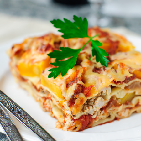 A Piece of Chicken and Pumpkin Lasagna