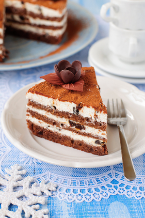 quark: A Piece of Chocolate, Quark and Prune Layer Cake Stock Photo