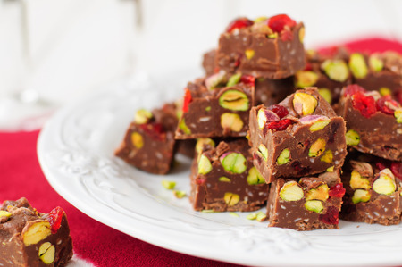 Chocolate Fudge with Glace Cherries, Pistachios and Coconut 스톡 콘텐츠
