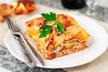 A Piece of Chicken and Pumpkin Lasagna