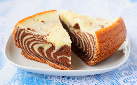 Two Pieces of Marble Cake (Zebra Cake)