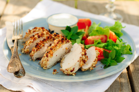 Sliced peanut crusted chicken breast with fresh salad and sauce