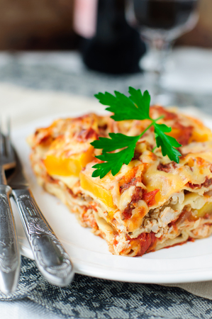 A Piece of Chicken and Pumpkin Lasagna, shallow dof, copy space for your text, square