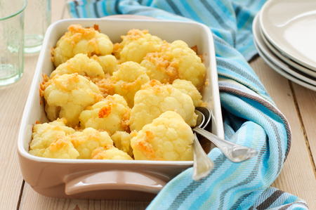 roasting pan: Roasted Cauliflower in a Roasting Pan Stock Photo