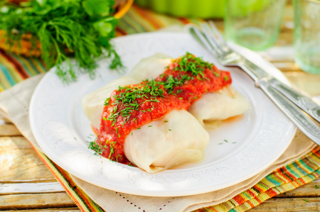 Cabbage Rolls with Tomato Sauce and Dill, Russian Golubtsy, Polish Golabki