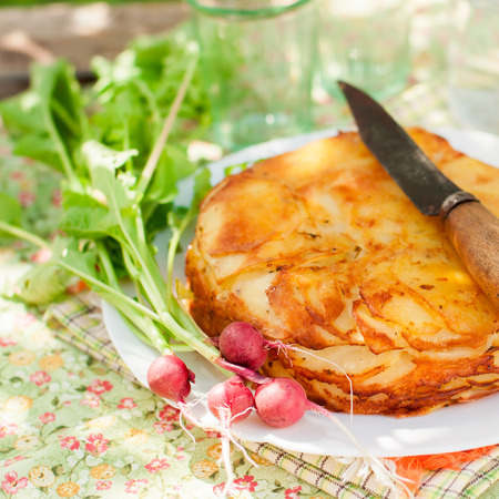 layered: Summer Upside Down Layered Potato Bake (Cake), square Stock Photo