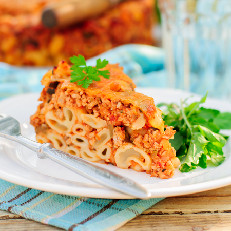 macaroni with cheese: A Piece of Bolognese Pasta Bake, Macaroni Cheese, Minced Meat and Pasta Pie, square