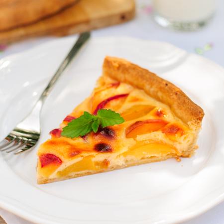 custard slice: A Slice of Peach and Sour Cream Custard Pie, square Stock Photo