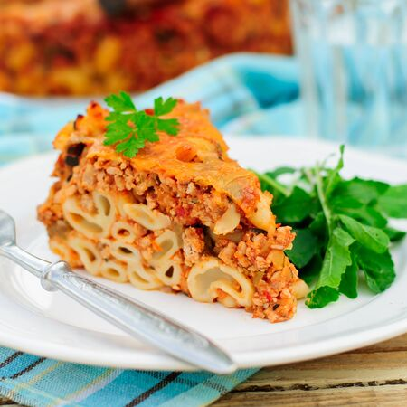 minced pie: A Piece of Bolognese Pasta Bake, Macaroni Cheese, Minced Meat and Pasta Pie, square