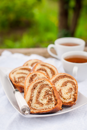 slovenian: Potica, Slices of Slovenian Walnut Roll, copy space for your text Stock Photo