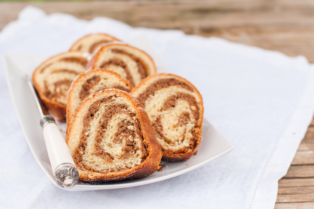 Potica, Slices of Slovenian Walnut Roll, copy space for your text 스톡 콘텐츠