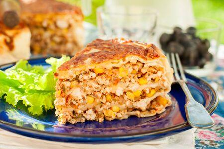 corn tortilla: Mexican Chicken, Zucchini and Corn Tortilla Pie Stock Photo
