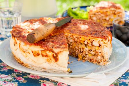 tortilla de maiz: Mexicana de pollo, calabacín y maíz Tortilla Pie