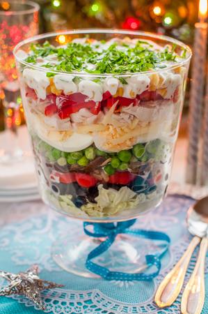 Christmas Layered Salad (Salad Leaves, Black Olives, Tomatoes, Mushrooms, Peas, Eggs, Cheese, Chicken, Capsicum, Corn)