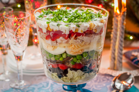 vegetable salad: Christmas Layered Salad (Salad Leaves, Black Olives, Tomatoes, Mushrooms, Peas, Eggs, Cheese, Chicken, Capsicum, Corn)