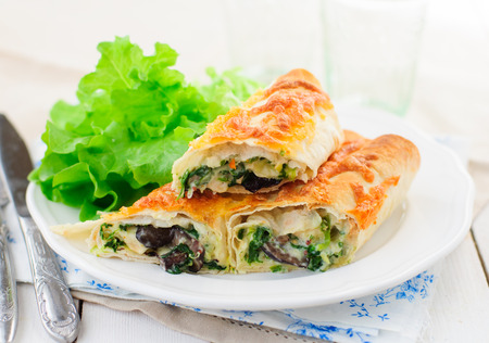 Baked Tortilla Rolls with Spinach, Chicken, Mushrooms and Cheese