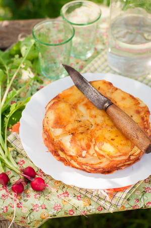 raddish: Summer Upside Down Layered Potato Bake (Cake), copy space for your text