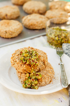 gherkin: Potato and Pork Patties with Marinated Gherkin, Dill and Mustard Salsa