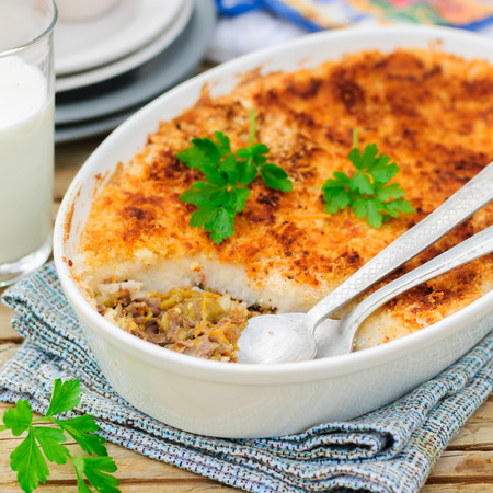 Hachis Parmentier, French Version of Shepherd's or Cottage Pie, Precooked Beef and Vegetables Covered with Potato Mash, square