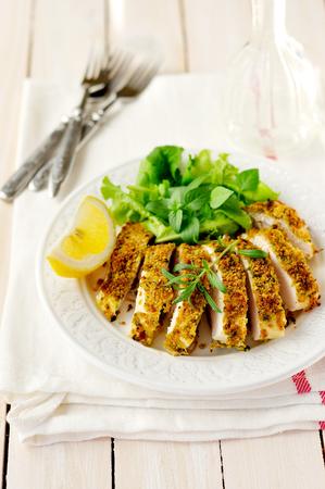 スライス レモン ハーブ痂皮鶏の胸肉