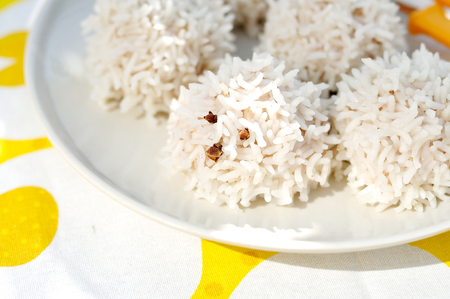 coated: Rice Hedgehogs Rice Coated Meat Balls Stock Photo