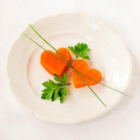the calorie: Romantic Low Calorie Dinner, Carrot Hearts