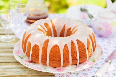 Summer Bundt Cake with Topped with Sugar Glaze