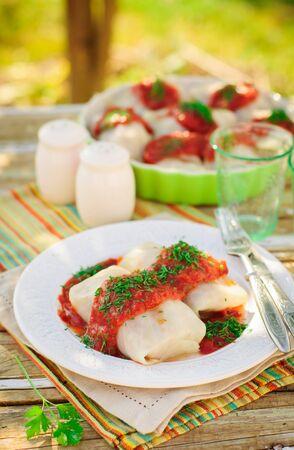 sauce dish: Cabbage Rolls with Tomato Sauce and Dill, Russian Golubtsy, Polish Golabki
