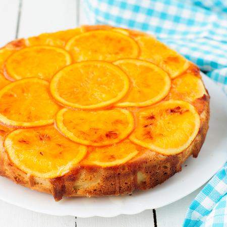 upside down: Orange Upside Down Cake with Sweet Syrup