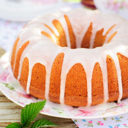 pound cake: Summer Bundt Cake with Topped with Sugar Glaze