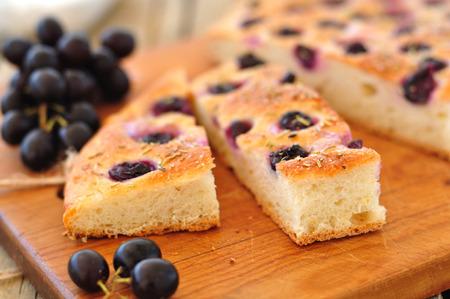 Grape Facaccia on a Chopping Board
