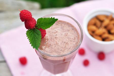 チョコレート ラズベリーのスムージー 写真素材
