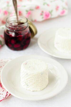 quark: Quark Dessert with Cherry Sauce, Paskha - traditional Russian Easter dessert made of quark