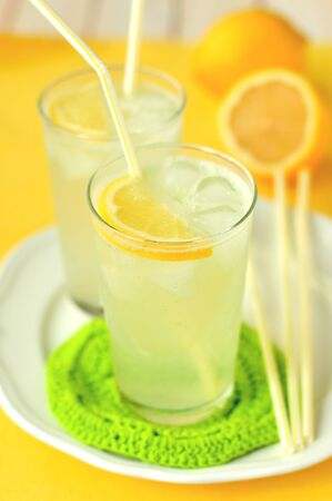 non alcoholic beverage: Two Glasses of Lemonade
