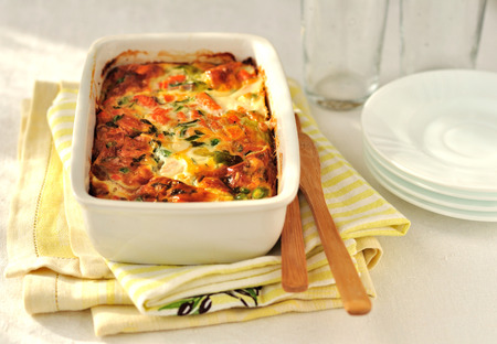 Salmon (or trout), cheese and vegetable bake