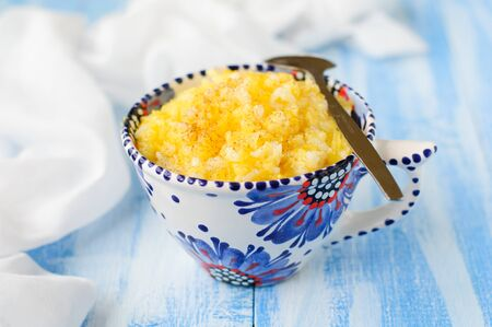 kasha: Millet and Rice Kasha (Porridge) with Pumpkin, copy space for your text Stock Photo