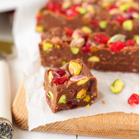 glace: Chocolate Fudge with Glace Cherries, Pistachios and Coconut, square
