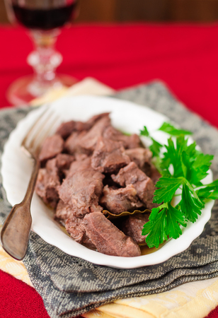 red braised: Pork Braised in Red Wine, copy space for your text