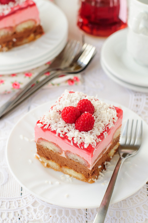 raspberry jelly: A Piece of No Bake Layer Cake (Savoiardi Soaked in Raspberry Liqueur, Chocolate Mousse, Raspberry Mousse and Raspberry Jelly), copy space for your text Stock Photo