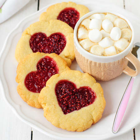 hot day: Homemade Cookies with Heart-Shaped Center and a Cup of Hot Chocolate with Marshmallow, square, copy space for your text