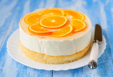Healthy Layered Orange Cake: Syrup Soaked Sponge, Creamy Yoghurt Mousse, Oranges in Jelly