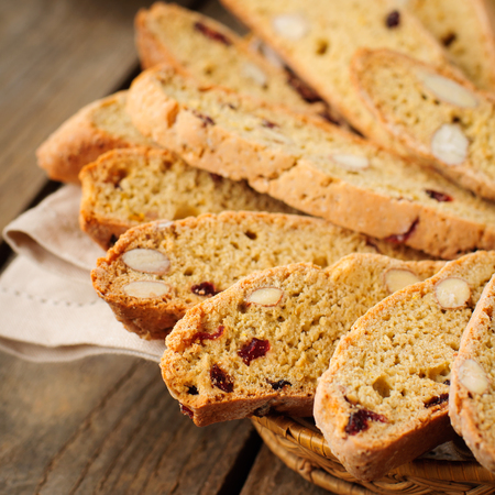 Pumpkin Biscotti with Almonds and Dried Cherries, square, copy space for your text Stock Photo