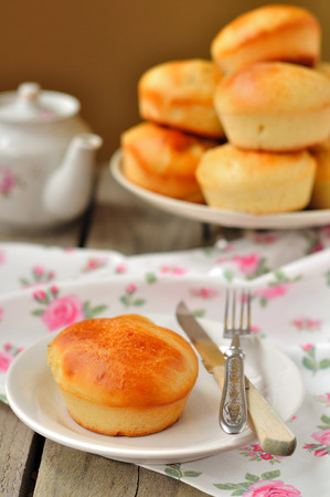 yeast: Yeast dough buns served for breakfast or tea party