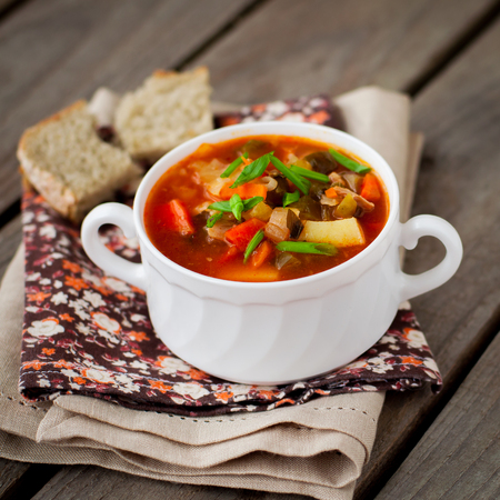 tomato slices: Russian style soup rassolnik, traditional Russian soup with meat and pickled cucumbers, square