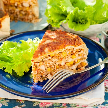 mexican: A Piece of Mexican Chicken, Zucchini and Corn Tortilla Pie, square