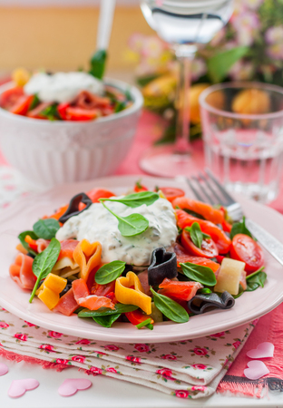 pasta salad: Salmon and Heart Shaped Pasta Salad with Creamy Dressing for Valentines Day, copy space for your text Stock Photo