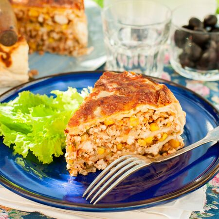 meat food: A Piece of Mexican Chicken, Zucchini and Corn Tortilla Pie, square